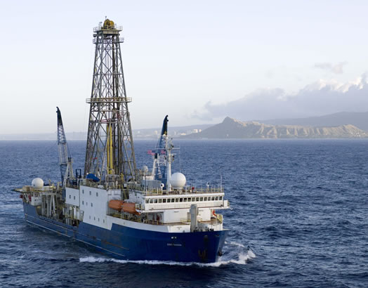 The JOIDES (Joint Oceanographic Institutions for Deep Earth Sampling)  seagoing research vessel that drills core samples and collects measurements from under the ocean floor, giving scientists a glimpse into Earth's development...